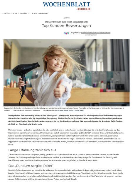 Das Gästebuch Von Bad & Design Aus Ludwigshafen Top Kunden Bewertungen Ludwigshafen